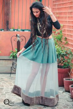 Fusion Indian Look. #CropTop #Sheer pleated skirt by HUEMN and jewellery by…