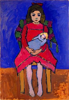 Gabriele Münter (German, 1877–1962)  Girl with Doll, 1908–09  Oil on cardboard  Gift of Mrs. Harry Lynde Bradley Milwaukee Art Museum collection