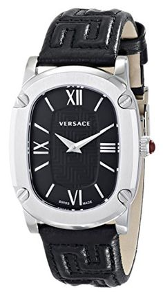 #Versace Ladies Watch 'Couture', model number VNB010014 Case: Stainless Steel Dial: Black with 'Greca' logo Strap: Black calfskin Movement: Swiss made automatic ...