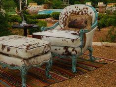 Longhorn Print Chair and Ottoman