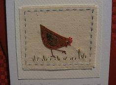 Handstitched card made by Helen Drewett LITTLE HEN PECKING see more in my shop! | eBay