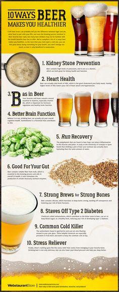 10 Ways Beer Makes You Healthier Infographic (Beer Recipes Homebrew) Benefits Of Drinking Beer, Beer Benefits, Beer Types, Different Types Of Beer, Beer Infographic, Health Infographics, Malta, Healthy Beer, Beer Brewing Kits