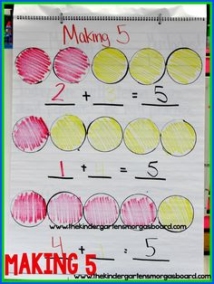 Decomposing Numbers and Making 5 Making This is a great math lesson for introducing decomposing and composing numbers! Kindergarten Anchor Charts, Math Anchor Charts, Numbers Kindergarten, Preschool Math, Teaching Kindergarten, Math Classroom, Math Activities, Teaching Ideas, Kindergarten Addition