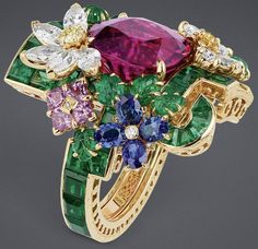 "DIOR 2017. ""Rubellite Orangery"" ring in white gold with diamonds, emeralds, rubellite, yellow sapphires, sapphires, pink sapphires, Paraiba-type tourmalines and yellow diamonds #DIOR #DIORÀVersaillesCôtéJardins #DIORJewellery #HighJewelry #FineJewellery #HauteJoaillerie #Diamond #YellowDiamond #Rubellite #Emerald #Sapphire #Yellow Sapphire #PinkSapphire #ParaïbaTypeTourmaline"