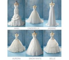 Since 2007 Disney has a wedding dress line, Disney Fairy Tale Weddings and here it is this years collection, made by the designer Alfred Angelo. As you can see