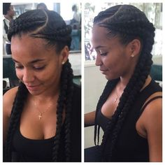 By @hair2serveyou Four braids for my girl Koreè !! Fake hair added throughout the braid for length and thickeness.