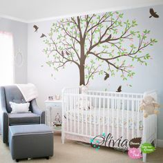 Large Tree Wall Decal Decals Decor Mural Nursery Decoration With Cute Birds Nt048