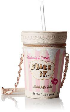 Betsey Johnson Kitch Milk Shake Cross Body Bag, Cream, One Size: Handbags: Amazon.com