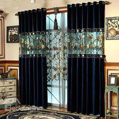 European Style Luxury Embroidery Custom Grommet Top Curtain - beddinginn.com