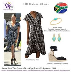 Royal Tour South Africa Day 1 - Meghan's black and white print wrap dress gave us DVF vibes! *Shoes are repeat wear item. Meghan Markle Outfits, Meghan Markle Style, Belted Shirt Dress, Cape Dress, Africa Day, South Africa, Print Wrap, Royal Fashion, Elegant Dresses