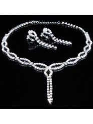 Shining Alloy with Rhinestones Wedding Jewelry Set, Including Earrings and Necklace