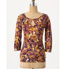 """Anthropologie Teardrop Keyhole Top Original listing price $34. Super soft 3/4 sleeve floral top from Anthropologie (Postmark brand). Material is 90% tencel and 10% wool. Measurements laying flat: length 25.5"""", armpit to armpit 16.5"""", sleeve length from shoulder 18.5"""". Size M, will also fit a small. Excellent condition with no flaws! Anthropologie Tops"""