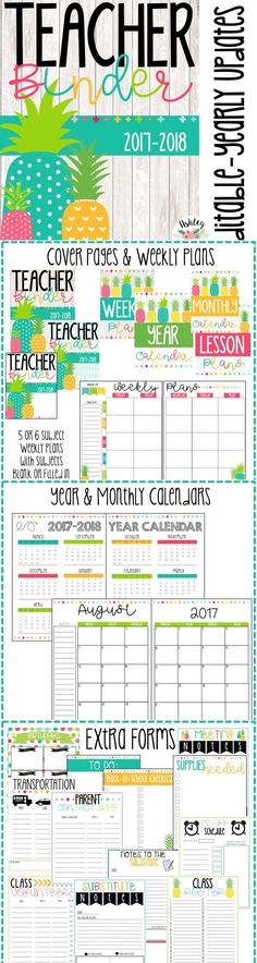 EDITABLE Pineapple Teacher Binder- Over 85 pages of bright organized fun!