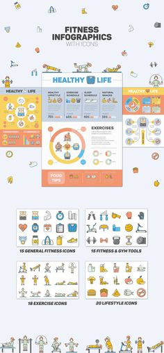 3 Pre-Made Fitness Infographics with a set of Funky Icons Fitness Infographic, Make An Infographic, Infographics, Fitness Icon, Fitness Tips, Health Fitness, Health Icon, Healthy Exercise, Natural Sleep