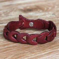 Red Leather Link Bracelet Handcrafted in Bali - Infinity in Red | NOVICA