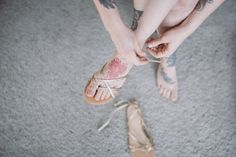 Pretty delicate gold sandals for the bride on her #wedding day