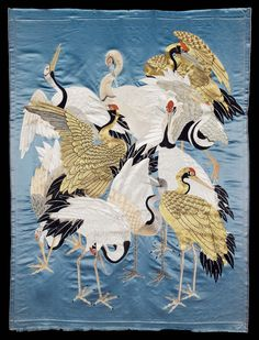Japanese Embroidery Silk Reality Show 1989 — yorkeantiquetextiles: Fukusa (gift cloth). Chinese Embroidery, Bird Embroidery, Embroidery Designs, Graphic 45, Japan Crafts, Art Chinois, Art Asiatique, Art Japonais, Japanese Prints