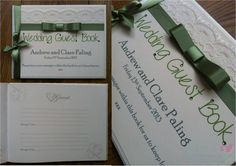 Sage green and lace Wedding Guest Book  www.jenshandcraftedstationery.co.uk www.facebook.com/jenshandcraftedstationery