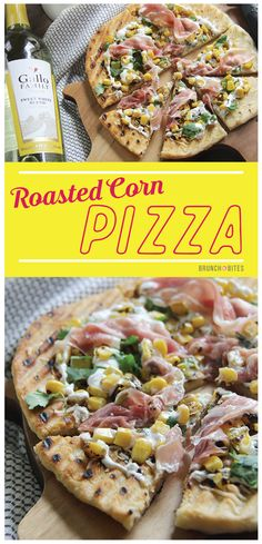 You won't need takeout anymore. This Roasted Corn Pizza is the perfect sweet and savory pizza! Perfect for #SundaySupper and wine from #GalloFamily