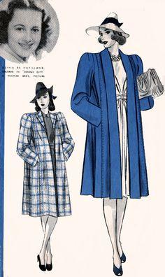 1940s Swagger Coat Full Length Tuxedo Collar Hollywood 1843 Vintage 40s Movie Star Olivia deHavilland Vintage Pattern Size 16 Bust 34 by sandritocat on Etsy