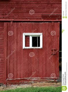 Photo about A large sliding barn door on an old rustic red dairy barn in Vermont. The door is slid open on a metal track with rough wooden siding. Image of siding, window, trim - 102219733 White Window Trim, White Trim, Vermont, Farms, Garage Doors, Windows, Rustic, Outdoor Decor, Red