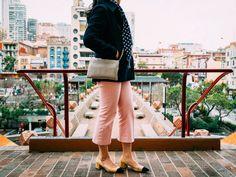 Navy peacoat | polka dot scarf | pink pants | colorblock shoes | www.shoppingmycloset.com