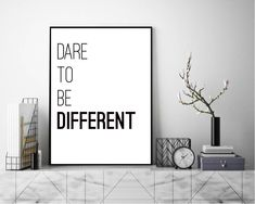 Excited to share the latest addition to my #etsy shop: Dare To Be Different. Quote Wall Art, Art Print, Typography Poster, Black and White, Scandinavian Art, Minimalist http://etsy.me/2DmuG7U #art #printmaking #letterpress #white #black #print #photograph #quote #life