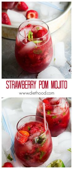 Strawberry Pom Mojito | www.diethood.com | Refreshing Mojito Cocktail made with strawberries and pomegranate juice | #recipe #cocktail #strawberries