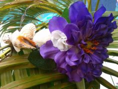 Seashell Headband with Tropical Purple flower