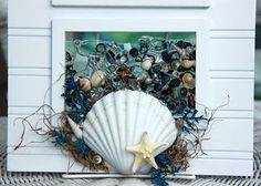 This three paneled, sea glass art would be a wonderful addition to any beach decor! It can be used as a wall hanging or sun catcher in a window. It is a shell wave wall hanging, made from a white wooden, three paneled frame that measures about 18.5 x 10.5. Shells are arranged and secured to 3 rectangles of glass. Each glass frames about 3.5 x 5.5. The shells on the glass are all bonded with a clear resin to secure and help make the look of a wave passing through a window. It holds several…
