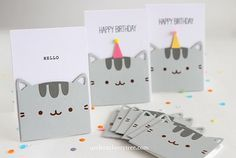 Project: Pusheen the Cat Cards Do you love the fat and fluffy cat named Pusheen? She can be found in her own books, on stationary, plushies, t-shirts and lots more. I'm a big fan, she and her friend Stormy are so cu… Handmade Birthday Cards, Birthday Diy, Cat Birthday Cards, Pusheen Birthday, Cumpleaños Diy, Karten Diy, Cat Cards, Cards Diy, Bunting