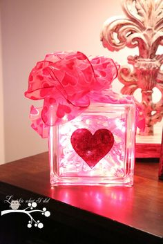 Glittered Heart Glass Block