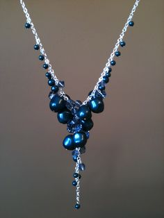 Blue Swarovski pearls and crystals make this necklace a dream.