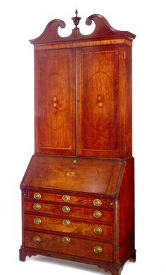 A Chippendale Inlaid and Figured Mahogany Desk and Bookcase,k Possibly North Carolina or Virginia, Circa 1800, height 100 1/2in. by width 40in. by depth 20 1/2in.