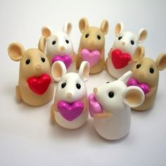 mice, heart, polymer clay, cute
