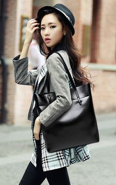 New Women's Casual Simple Leather Large Capacity Tote Bag