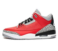 """The Air Jordan 3 """"Red Cement"""" is a special edition of the iconic silhouette released during NBA All-Star Weekend 2020 in Chicago. Basically a red version of the classic """"Black/Cement"""" colorway, the fi Air Jordan 3, Jordan Retro 3, Air Jordan Shoes, Retro Sneakers, Air Max Sneakers, Zapatillas Nike Jordan, Adidas Basketball Shoes, Jordan Basketball"""