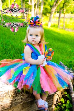 Candy Land Tutu Dress and Over The Top Bow via Etsy