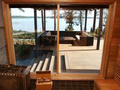 Sauna With a View Modern Saunas, Outdoor Sauna, Sauna Design, Finnish Sauna, Alvar Aalto, Built Environment, Pool Houses, Architecture Design, House Plans