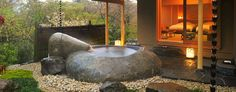 Gora Kadan, room with open-air big stone bath   (Hakone, Japan)