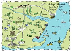 Custom Hand Drawn Wedding Maps of Washington DC Area | Washington DC Weddings, Maryland Weddings, Virginia Weddings :: United With Love™ :: Fresh Inspiration, Ideas and Vendors