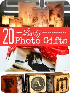20 lovely ideas for making Christmas gifts from photos @Maaike Anema Anema Boven make lists ... Frugal Christmas, Diy Christmas Gifts, Christmas Photos, Holiday Gifts, Holiday Ideas, Grandparent Gifts, Photo Gifts, Picture Gifts, Gifts For Mum