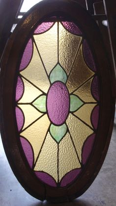 oval Victorian stained glass window