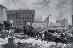 """Bau von Mietskasernen in Berlin um 1875 /  """"Tempo der Gründerzeit"""" (Bau der Grenadierstraße (heute Almstadtstraße)) von Friedrich Kaiser, Öl auf Leinwand um 1875"""
