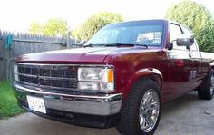 '87 / '96 Dodge Dakota 4x2 ~ This is as close as I could find to mine.  The color and chrome was the same.  I had 1996 Jeep Grand Cherokee wheels on mine with no extended cab.  I also had running boards on it.  This was a father & son project my dad and I built together.  The truck was an '87 but the nose was off a '96.  3.9 V6 with a 3 speed auto on the column.  It was my high school car and it served me well.