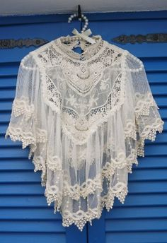 Retro Crochet Lace Cape. Chicwish.com. $43.90. Over a floral print dress. Perfection. #cape #crochet #lace