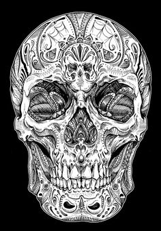 Darkness on behance art в 2019 г. skull artwork, tattoos и s Hawaiianisches Tattoo, Body Art Tattoos, Tattoo Drawings, Sleeve Tattoos, Sugar Skull Tattoos, Sugar Skull Art, Mexican Skull Tattoos, Skull Tattoo Design, Skull Design