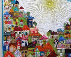 Cecilia Koppmann: Remembrance quilt, wonderful detail pictures too House Quilt Patterns, House Quilt Block, House Quilts, Colchas Quilt, 3d Quilts, Applique Quilts, Crazy Quilting, Landscape Art Quilts, Fabric Art