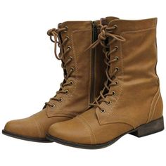 Tan Military Combat Boots With Zipper Closure (710 MXN) ❤ liked on Polyvore featuring shoes, boots, combat boots, mid calf boots, slouch boots, tall tan boots and mid calf combat boots