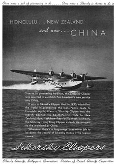 Sikorsky Aircraft Corporation ad Model Clipper Flying Boat 1937 - Sikorsky Aircraft - Wikipedia, the free encyclopedia Airplane Flying, Flying Boat, Old Paris, Old London, Sikorsky Aircraft, Boeing 747, Air Festival, Vintage Airplanes, Vintage Travel Posters